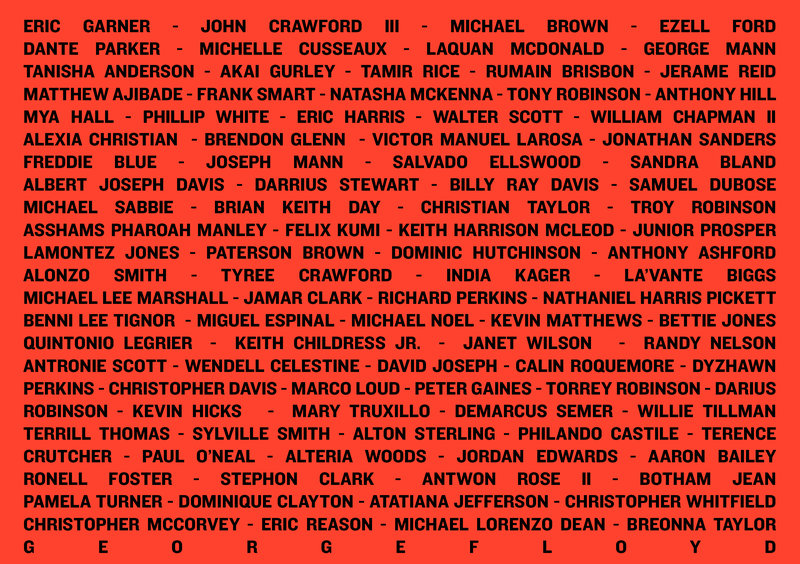 Say Their Name - list of black people killed by police