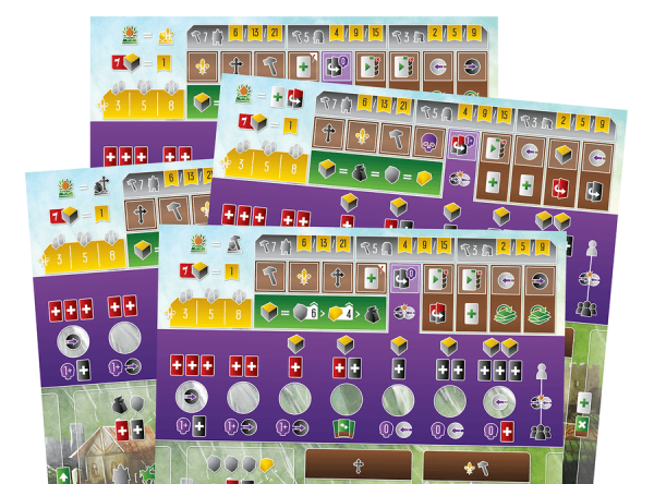 The various AI boards, their favoured actions in the top left corners.