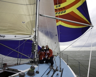 Main spinnaker blooper and staysail